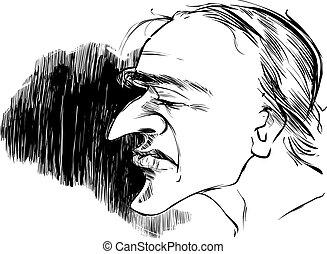Perfil de hombre caricatura
