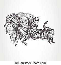 Perfil dibujado a mano por el jefe nativo americano de diseño clásico grunge tee
