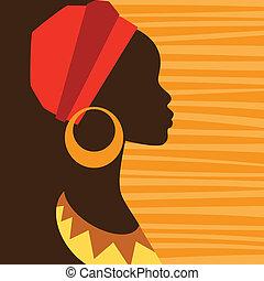 perfil, earrings., niña, silueta, africano
