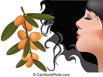 perfil, oscuridad, argan, fruits, mujer