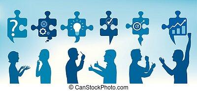 Perfilar personas gestando con piezas de rompecabezas con símbolos de resolver problemas. Solución de negocios. Concepto el equipo de resolución de problemas. Estrategia y éxito. Servicio al cliente. Color azul
