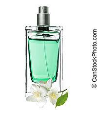 Perfume de mujer en hermosa botella y flores de jazmín aisladas de fondo blanco