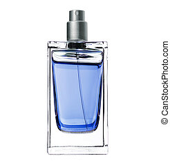 Perfume femenino en una hermosa botella aislada en blanco