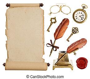 Pergamino de papel antiguo y accesorios antiguos