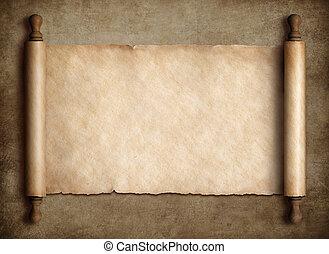 Pergamino de pergamino antiguo sobre antecedentes de papel viejo