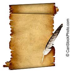 Pergamino de pergamino y pluma