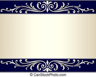Pergamino de vintage en beige plateado y azul