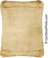 pergamino, papel, viejo, rúbrica, o