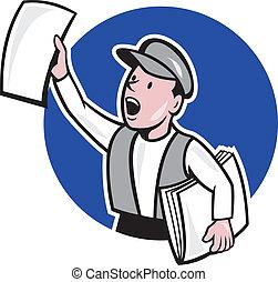 periódico, círculo, venta, caricatura, newsboy