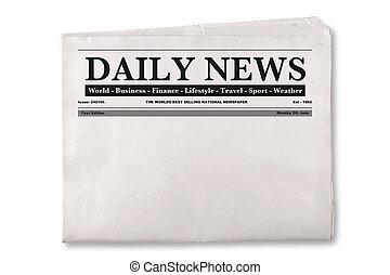 periódico, diario, blanco