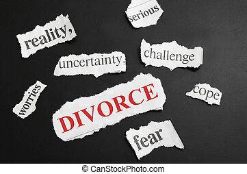 periódico, divorcio, titulares, vario, rojo