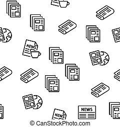 periódico, patrón, vector, seamless