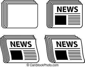 periódico, símbolos, ondulado, negro, vector