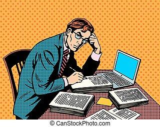 periodista, escritor, papel, thesis, redactor, académico, computador portatil