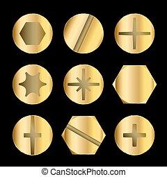 Perno de oro y cabezas de tornillo