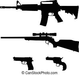 perno, silueta, vector, rifle, estilo, rifle, semiautomático, pistolas, ar-15, acción