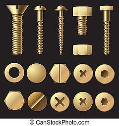 Pernos dorados y tornillos. Lavadora de hardware remachado tornillo y tornillo. Vectores aislados de oro fijados