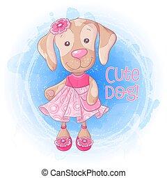 Perrito lindo de dibujos animados con un bolso en un vestido rosa. Ilustración de vectores