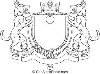Perro acaricia escudos heráldicos de armas