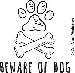 perro, bosquejo, tenga cuidado