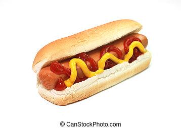 Perro caliente con ketchup y