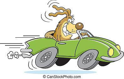 Perro caricaturista conduciendo un coche