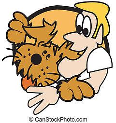 Perro con hombre gráfico