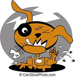 Perro con pulgas, gráfico de arte