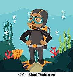 Perro con traje de buceo bajo el agua