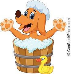 Perro de dibujos animados bañándose en el baño de perros