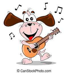Perro de dibujos animados tocando la guitarra