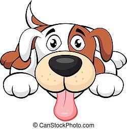 perro, lindo, caricatura