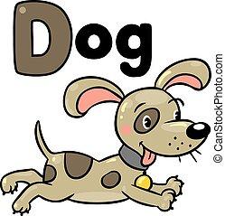 Perro o cachorro, para ABC. Alfabeto D
