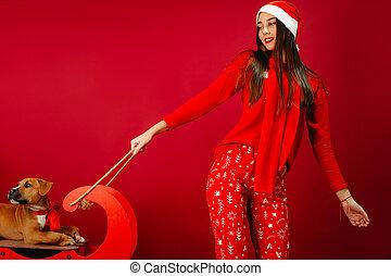 perro, pijama, equitación, niña, foto, perrito, navidad, rojo, santa, blanco, sleigh., present-, plano de fondo, space., feriado, ella, sombrero