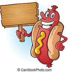perro, señal, caliente, madera, tenencia, caricatura