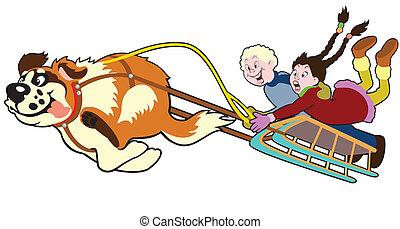 Perro tirando de trineo con niños