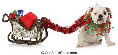 Perro tirando del trineo de Navidad