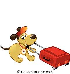 perro, tirar, viajar, equipaje