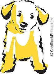 perro, vector, ilustración, aislado, blanco