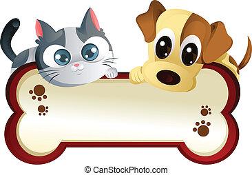 Perro y gato con estandarte