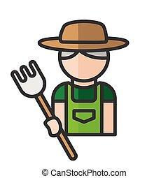 person., vector, gente, perfil, usuario, ilustración, hombre, icon., jardinero, avatar., garden., macho, trabajando