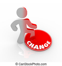 persona, botón, en, caminar, cambio