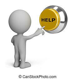 persona, botón, planchado, ayuda, 3d
