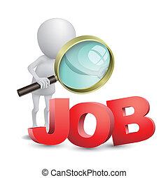 persona, buscando, vidrio, trabajo, aumentar, 3d