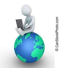 Persona con portátil en el mundo
