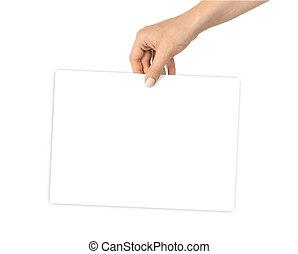 persona, credito, tenencia, fondo., tarjeta, blanco, card., plantilla, empresa / negocio, mano, blanco, aislado, papel, arm., vacío