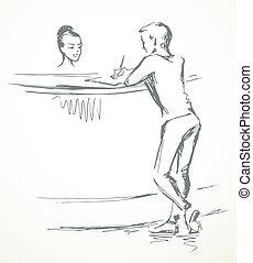 persona, desk., recepción, vector, dibujo