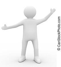 Persona en pose de saludos. Imagen 3D aislada