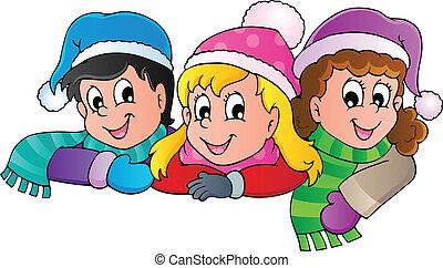 persona, imagen, invierno, caricatura, 4