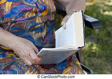 persona, lectura, más viejo